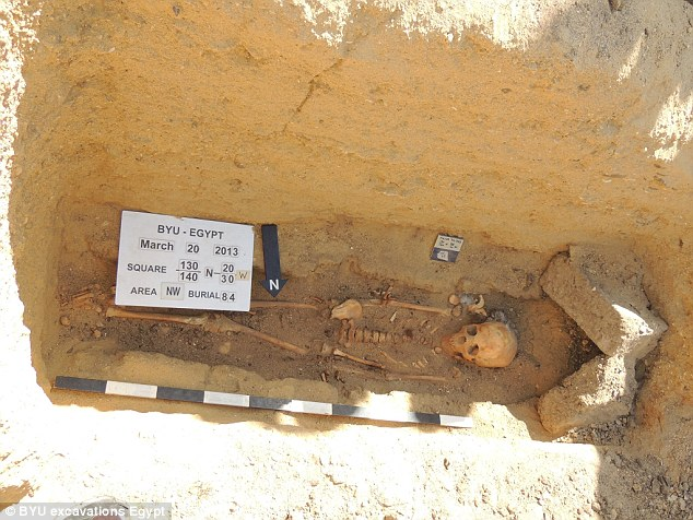 This skeleton was found entombed inside an unusual triangle shaped vault at the bottom of a burial shaft - Image credit: BYU Escavations Egypt