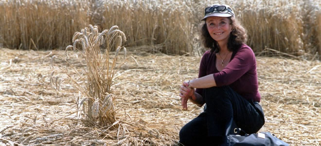 Linda Moulton Howe in  crop circle
