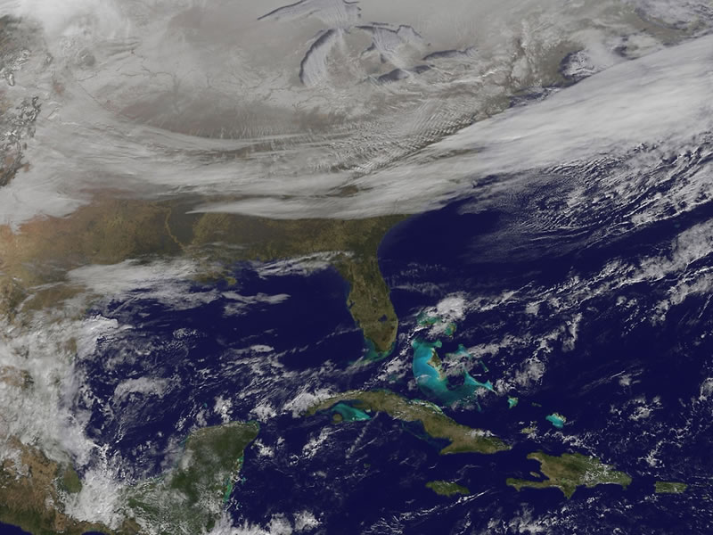 Satellite Picture Shows Snow-covered U.S. Deep Freeze
