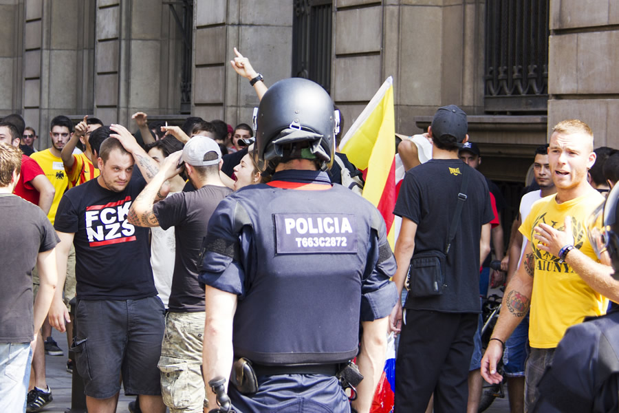 Protesters in Catalonia on Catalan Independence Day. Most of the people arrested in December were Catalan. Image: ​Eric Burniche/Flickr