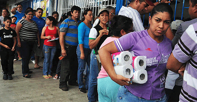 Venezuelan Woman Earns Her Living Standing in Line to Buy Toilet Paper