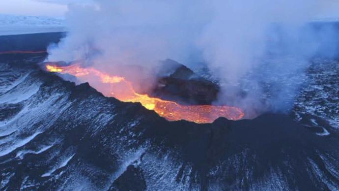 Holuhraun Lava Field. Image credit: Ruptly Video screen grab