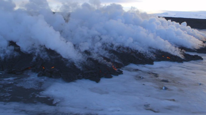 Holuhraun Lava Field. Image credit: Ruptly Video screen grab