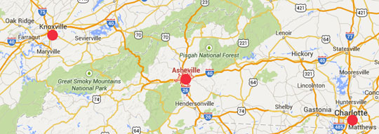 Booms No Carolina Asheville MAP