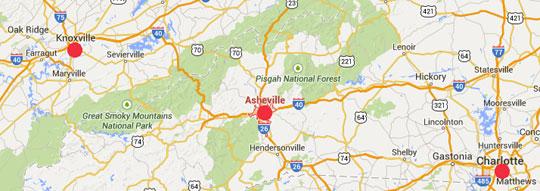Booms No Carolina Asheville MAP