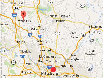 Booms Pennsylvania Ellwood City MAP