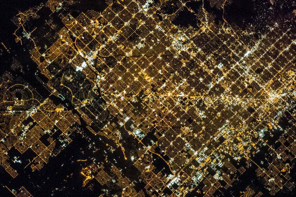 View of Glendale and Phoenix from ISS