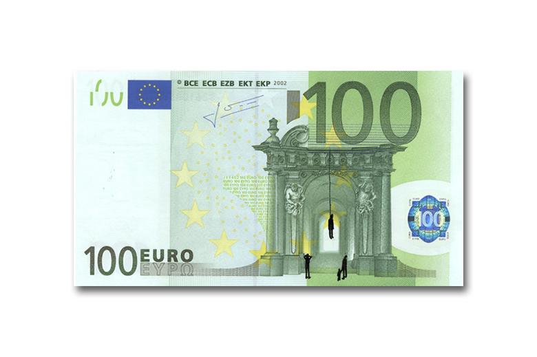 100 Euro Hanging Sketch