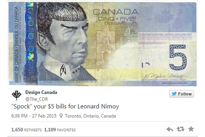 Spocking - Canada's Central Bank Requests End To Defacing
