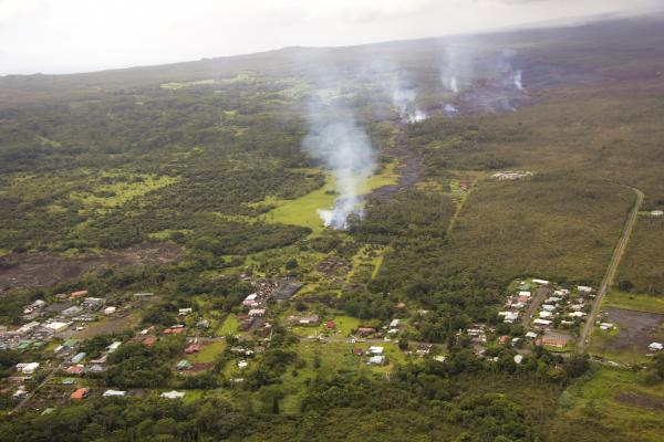 A wider view of the flow, showing its proximity to Pāhoa Village
