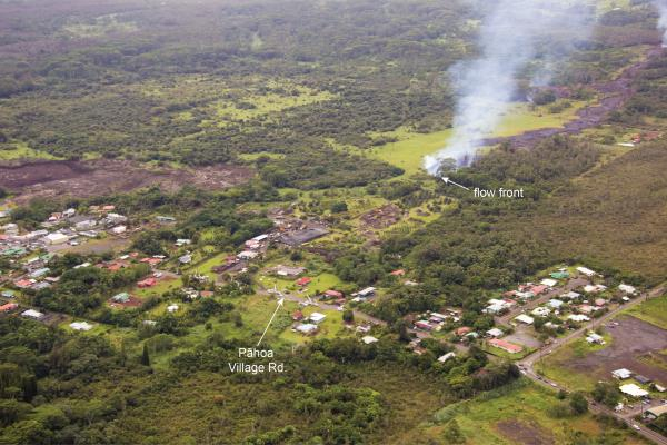 The June 27th lava flow remained active