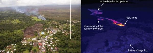The white box shows the approximate extent of the thermal image. The elevated temperatures (white and yellow areas) around the flow front indicate that significant activity is focused at the front, driving its forward movement. In addition, a slow-moving lobe was active upslope of Cemetery Rd. Farther upslope, scattered breakouts persist in the wider portion of the flow.
