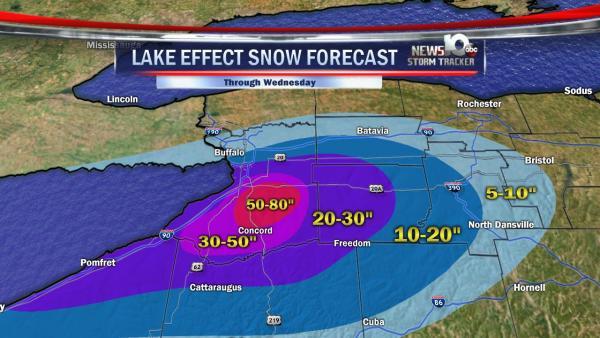 Record cumulative snowfall through Wednesday