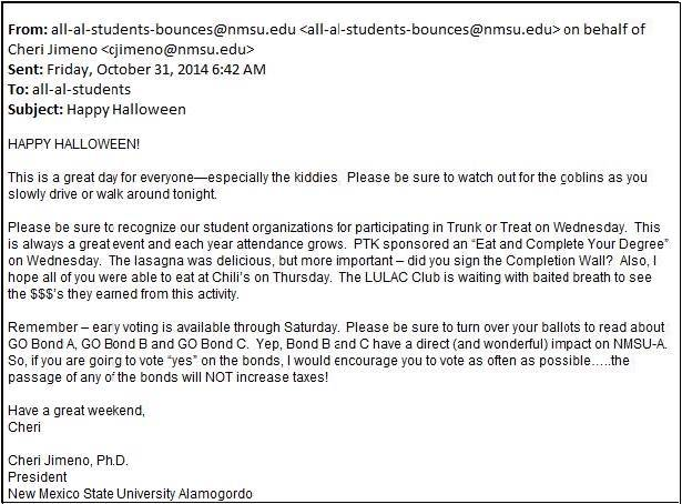 """University President Emails Students: """"Vote As Often as Possible"""""""