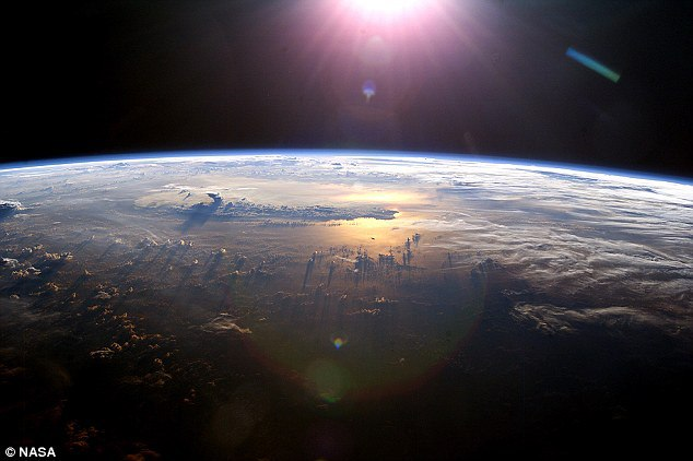 Earth is shown here pictured from space.