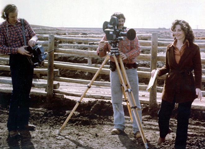 Linda Moulton Howe  with Camera Richard Lerner and Audio Man Mark O'Kane