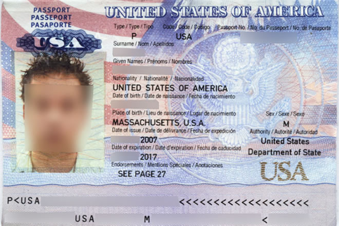 Biometric Passport data page. Image credit: Public Domain