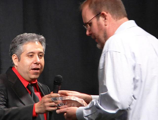 John Burroughs receiving Researcher of the Year Award 2015